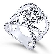 Halley 18k White Gold Round Halo Engagement Ring angle 3
