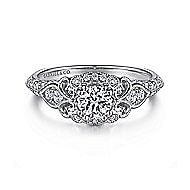 Halsey 14k White Gold Round Halo Engagement Ring angle 1