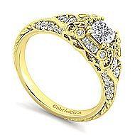 Halsey 14k Yellow Gold Cushion Cut Halo Engagement Ring angle 3