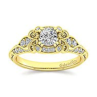 Halsey 14k Yellow Gold Cushion Cut Halo Engagement Ring angle 5