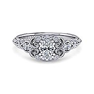 Halsey Platinum Oval Halo Engagement Ring angle 1