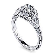 Halsey Platinum Oval Halo Engagement Ring angle 3