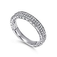 Hand Engraved Micro Pave  Classic Diamond Ring in 14K White Gold