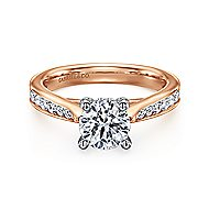 Hannah 14k White And Rose Gold Round Straight Engagement Ring angle 1