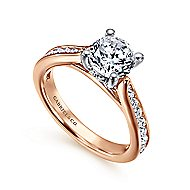 Hannah 14k White And Rose Gold Round Straight Engagement Ring angle 3