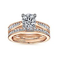 Hannah 14k White And Rose Gold Round Straight Engagement Ring angle 4