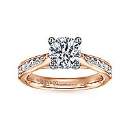 Hannah 14k White And Rose Gold Round Straight Engagement Ring angle 5