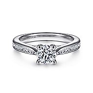 Hannah 14k White Gold Round Straight Engagement Ring angle 1