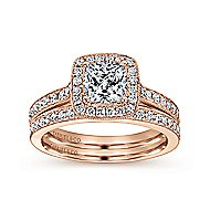 Harper 14k Rose Gold Cushion Cut Halo Engagement Ring