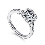 Harper 14k White Gold Cushion Cut Halo Engagement Ring