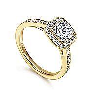 Harper 14k Yellow Gold Cushion Cut Halo Engagement Ring