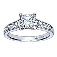 Harriet 14k White Gold Princess Cut Straight Engagement Ring angle 5