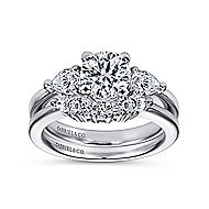 Haven 14k White Gold Round 3 Stones Engagement Ring angle 4