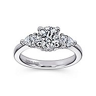 Haven 14k White Gold Round 3 Stones Engagement Ring angle 5