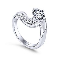 Hayley 14k White Gold Round Bypass Engagement Ring angle 3