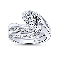 Hayley 14k White Gold Round Bypass Engagement Ring angle 4