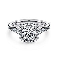 Hazel 14k White Gold Round Halo Engagement Ring angle 1