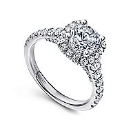 Hazel 14k White Gold Round Halo Engagement Ring angle 3