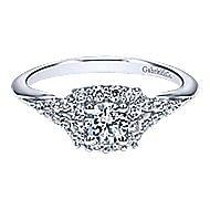 Heartfelt 14k White Gold Round Halo Engagement Ring angle 1
