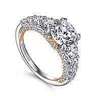 Heather 18k White And Rose Gold Round Straight Engagement Ring angle 3