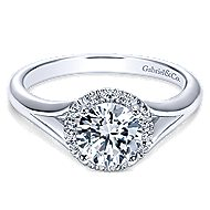 Henley 14k White Gold Round Halo Engagement Ring angle 1