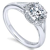Henley 14k White Gold Round Halo Engagement Ring angle 3