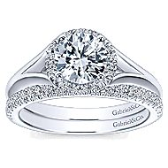Henley 14k White Gold Round Halo Engagement Ring angle 4