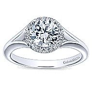 Henley 14k White Gold Round Halo Engagement Ring angle 5