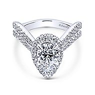 Hibiscus 18k White Gold Pear Shape Halo Engagement Ring angle 1