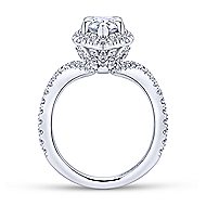 Hibiscus 18k White Gold Pear Shape Halo Engagement Ring angle 2