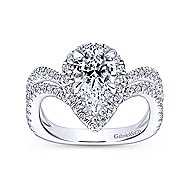 Hibiscus 18k White Gold Pear Shape Halo Engagement Ring angle 5