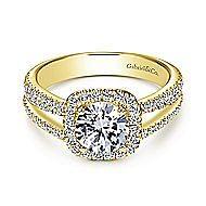 Hillary 14k Yellow Gold Round Halo Engagement Ring angle 1