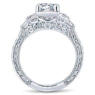 Hillcrest 14k White Gold Round 3 Stones Engagement Ring angle 2