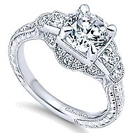 Hillcrest 14k White Gold Round 3 Stones Engagement Ring angle 3