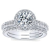 Holland 14k White Gold Round Halo Engagement Ring angle 4