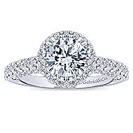 Holland 14k White Gold Round Halo Engagement Ring angle 5