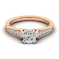Hollis 14k White And Rose Gold Cushion Cut Straight Engagement Ring angle 1