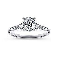 Hollis 14k White Gold Round Straight Engagement Ring angle 5