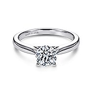 Honora 14k White Gold Round Solitaire Engagement Ring angle 1