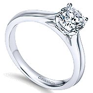 Honora 14k White Gold Round Solitaire Engagement Ring angle 3