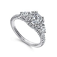 Hope 14k White Gold Cushion Cut 3 Stones Halo Engagement Ring