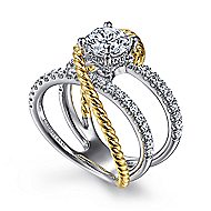 Hudson 14k Yellow And White Gold Round Twisted Engagement Ring angle 3