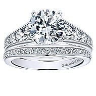Hula 18k White Gold Round Straight Engagement Ring angle 4