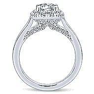 Hydrangea 14k White Gold Round Halo Engagement Ring angle 2