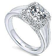 Hydrangea 14k White Gold Round Halo Engagement Ring angle 3