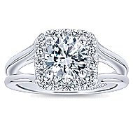 Hydrangea 14k White Gold Round Halo Engagement Ring angle 5