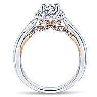 Idol 14k White And Rose Gold Round Halo Engagement Ring angle 2