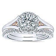 Idol 14k White And Rose Gold Round Halo Engagement Ring angle 4