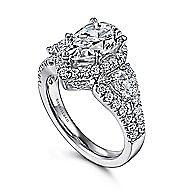 Ilona 14k White Gold Pear Shape 3 Stones Halo Engagement Ring