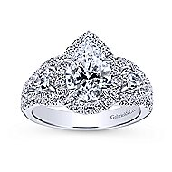 Ilona 14k White Gold Pear Shape 3 Stones Halo Engagement Ring